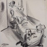 A 1960's political cartoon illustrating the battle between President Johnson and the AMA. The AMA had spent $50 million, hired 70 publicists and 23 full-time lobbyists to kill proposed Medicare legislation.