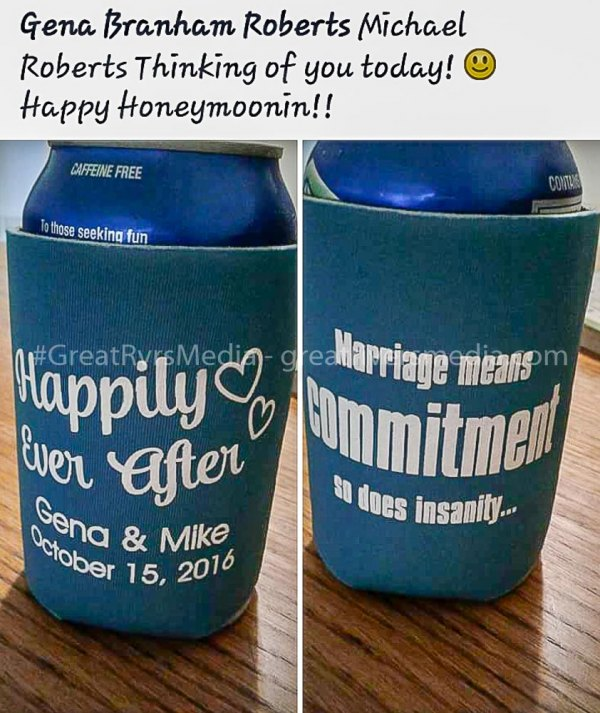 Photo of foam can covers given out at the wedding of Michael & Georgena Roberts.