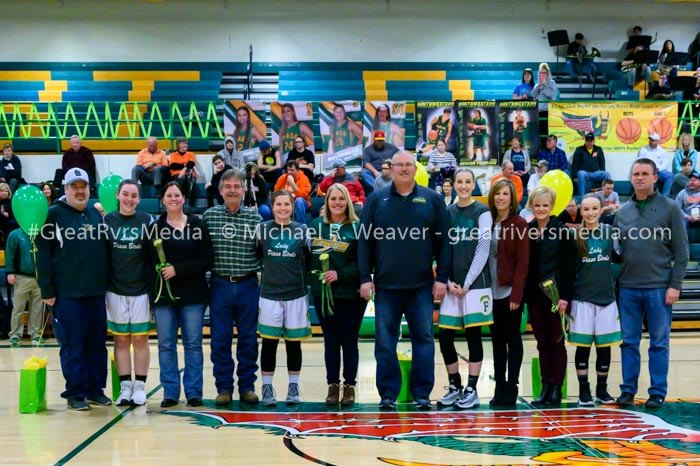 Southwestern senior girls basketball players and families were recognized during the Southwester vs. Hillsboro game.