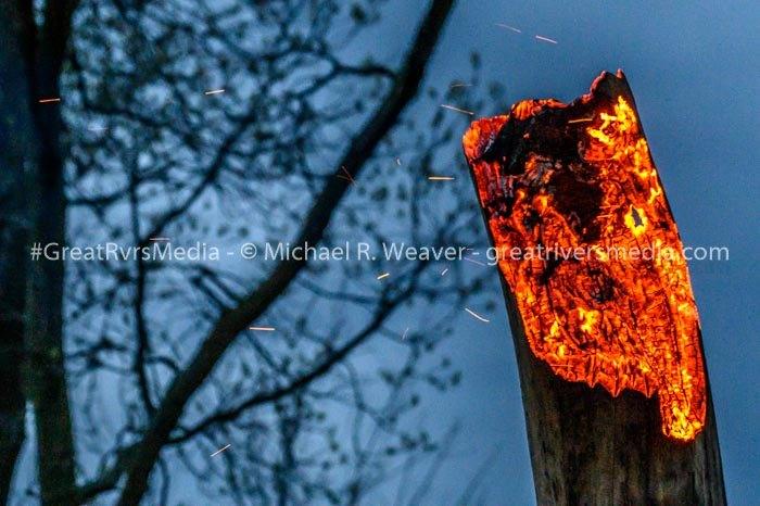 Dead tree Blazes After Apparent  Lightning Strike