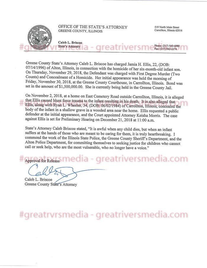 Greene County State's Attorney Caleb Bristow Press Release