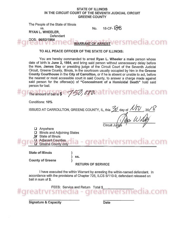 Ryan Wheeler Arrest Warrant