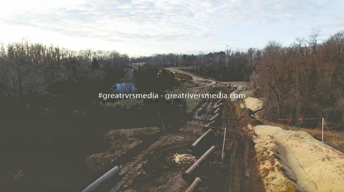 January 2018 drone footage shows pipeline construction across Gary and Michelle Erb's land. The couple has not been paid for the land's use. (Institute for Justice)