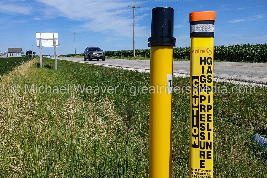 (Jersey County, IL) Spire natural gas pipeline markers at the intersection of IL Rt. 16 and Otterville road Show where the pipeline travels under the highway.