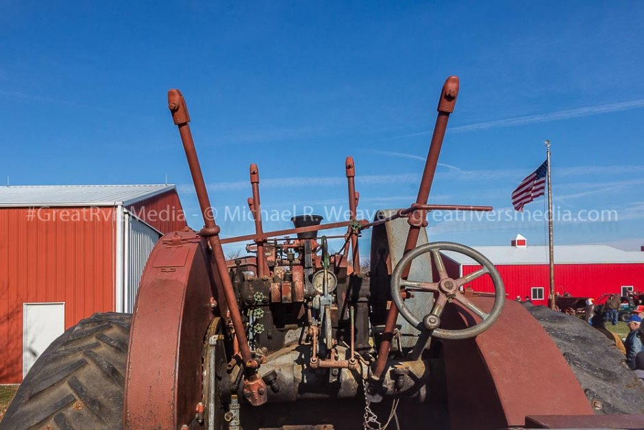Controls and steering for steam traction engine sold at Hazel Dell auction.