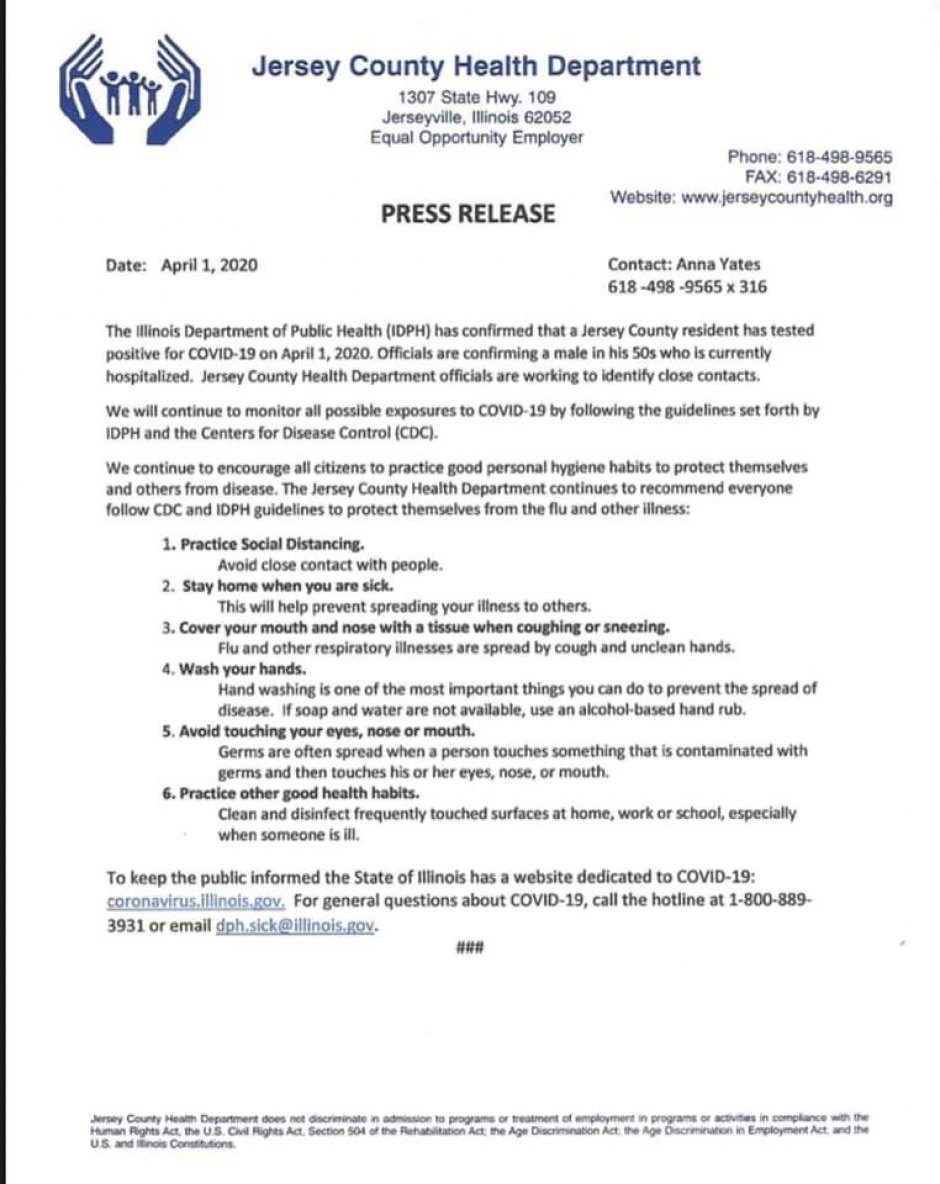 Jersey County Health Department press release.